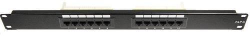 12 Port Cat6 Patch Panel Black